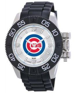 Game Time Watch, Mens Chicago Cubs Black Polyurethane Strap 47mm MLB