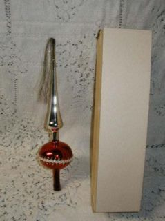 Vintage Glass w Germany Glass Christmas Tree Topper with Tassel IOB
