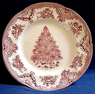 BROTHERS OLD BRITAIN CASTLES PINK CHRISTMAS TREE DINNER PLATES (4
