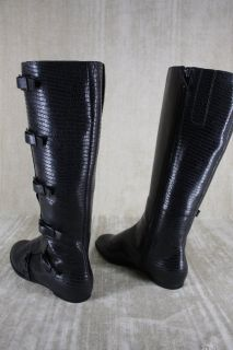 New Maria Sharapova Cole Haan Air Alexis Black Leather Lizard Boots