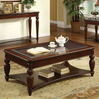 Marlowe Dark Cherry Finish English Style Coffee Table
