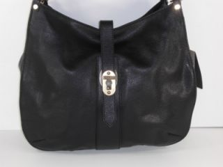 Burberry Black Marsden Grainy Leather Medium Hobo Bag