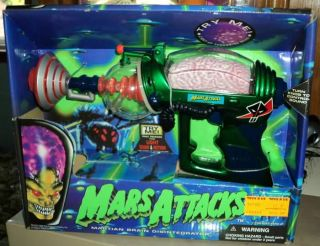 Mars Attacks Martian Brain Disintegrator Trendmasters Ray Gun Blue Box