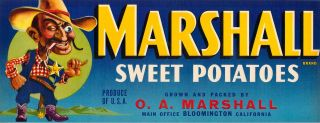 Marshall Vintage Sweet Potato Yam Crate Label Sherriff
