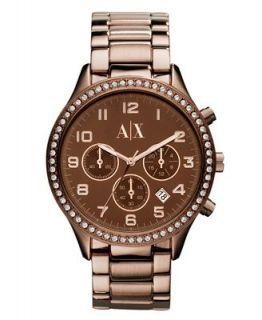 Armani Exchange Watch, Womens Chronograph Brown Ion Plated