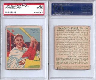 1935 Diamond Stars Pepper Martin 26 PSA 1 St Louis Cardinals