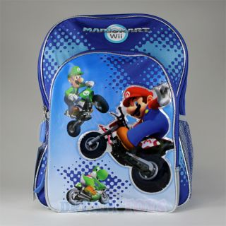 16 Super Mario Wii Mario Kart Backpack Boys Large New