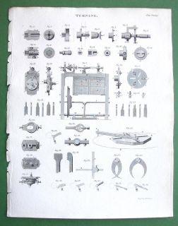 Turning Lathe Machinery Detached Parts A Rees Antique Print