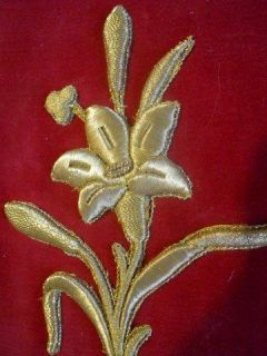 Antique French Altar Frontal Silver Metallic Trim Needlepoint