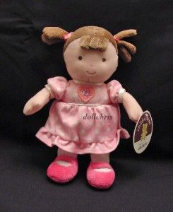 Carters Child of Mine Soft Plush Baby Doll Rattle Brown Hair 9 Pink