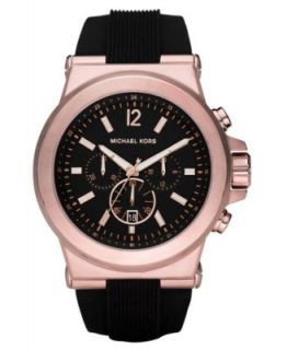 Michael Kors Watch, Mens Chronograph Dylan Black Silicone Strap 48mm
