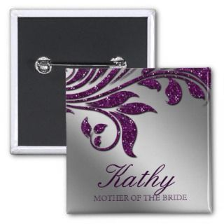 Wedding Name Tag Button Leaf Sparkle Purple Silver