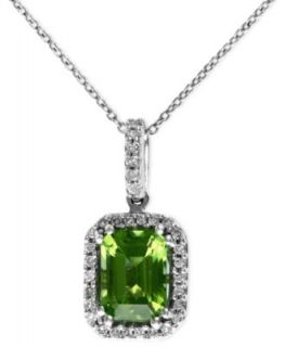 EFFY Collection 14k White Gold Necklace, Peridot (1 1/2 ct. t.w.) and