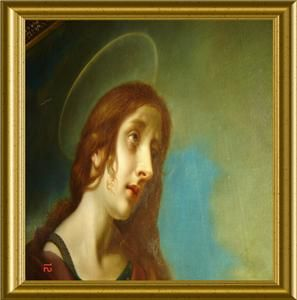 Antique Religious Mary Magdalene Portrait Oil Painting