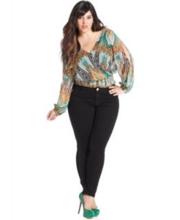 DKNY Plus Size Long Sleeve Animal Print Top & Tuxedo Skinny Jeans