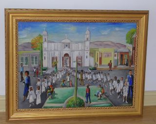 BIGAUD HAITIAN COMMUNION CEREMONY MIXED MEDIA / GOUACHE ON MASONITE