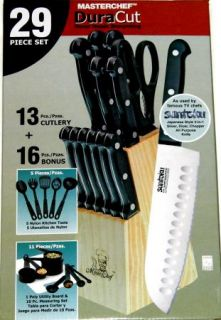 Masterchef 29 Pc Knife Set Inc. 7 Santoku Knife Wood Block Kitchen