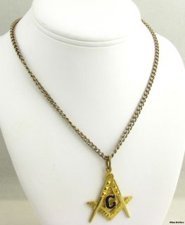 MASONIC   Vintage Square & Compass Pendant Fob Curb Chain Necklace 25