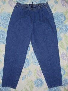 0067* Faded Glory Womens Size 16 W Petite Elastic Waist Blue Jeans