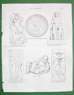 Persia Egypt India Ancient Sculptures Antique Print A Rees