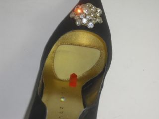 Martinez Valero 7 5 M April Black Satin Pump Heel Womens Shoes