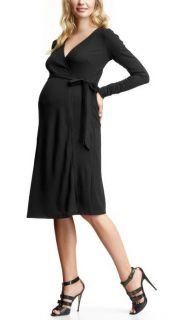 Gap Maternity Black Knit Long Sleeve Wrap Sweater Dress XS New