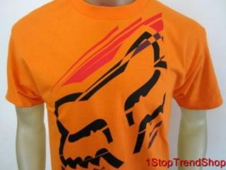Fox Racing Co Logo T Shirt Mens Short Sleeve Orange Sizes s M L