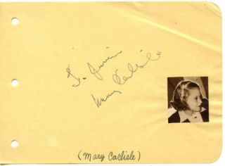 Mary Carlisle Vintage 1930s Original Signed Album Page Autographed