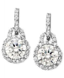 Brilliant Sterling Silver Earrings, Cubic Zirconia Round Fancy Drop