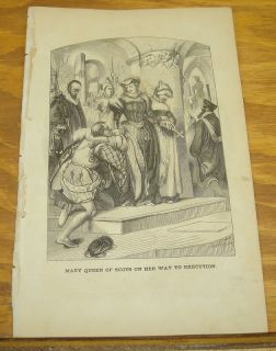 1852 Antique Print Mary Queen of Scots on Way to Execution Graham's