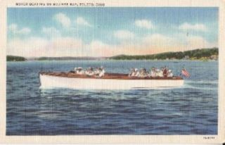 Toledo Oh Motor Boating Maumee Bay Linen Postcard