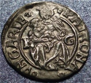1510() HUNGARY Silver Denar, VERY EARLY DATED COIN Madonna & Child