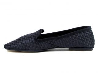 390 Max Kibardin Navy Blue Woven Satin Suede Flat Moccasins Loafer