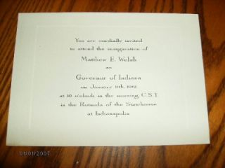 MATTHEW E.WELSH INDIANA GOVERNOR ELECT 1960 CHRISTMAS CARD & INAUGURAL