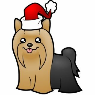 Christmas Yorkie (tan long hair) Cut Out