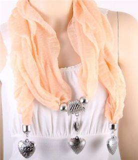 Heart Charm Light Orange Fabric Scarf Necklace Costume Jewelry