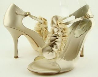 Maxstudio Salsa Beige T Strap Womens Wedding Prom Shoes Pump 6 M