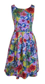 Purple Yellow Green Tropical Print Day Dress Beverley Size 10 New