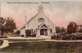 Hand Colored Eastern Star Chapel KS Masonic Home KS