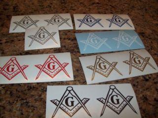 13 1 6Color Masonic Square Compass Emblem Decals