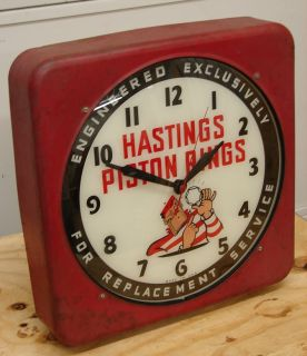 Old Hastings Piston Rings Light Up Garage Clock Sign