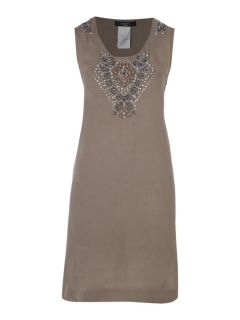 Max Mara Weekend Embellished Linen Dress in Brown