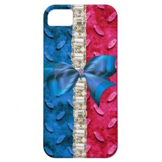 Faux Metal Red White & Blue Rhinestone Iphone Case iPhone 5 Covers