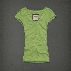 Abercrombie Fitch by Hollister Women Maura V Neck T SHIRT Lime Green S