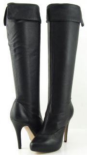 Maxstudio Malta Black Womens Designer Shoe Knee High Platform Boots 9
