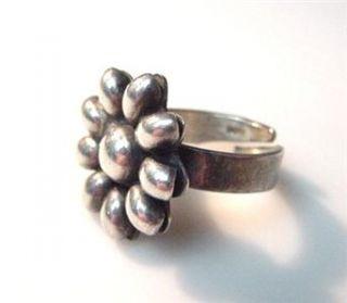 Vintage Taxco Sterling Silver Flower Design Ring Size 9 9 8 Grams