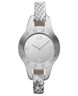 Armani Exchange Watch, Womens Gray Python Stamped Leather Strap