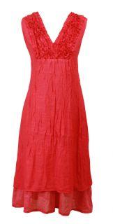 Bright Coral Ruffle Trim Layered Crush Tunic Dress Melody Size 10