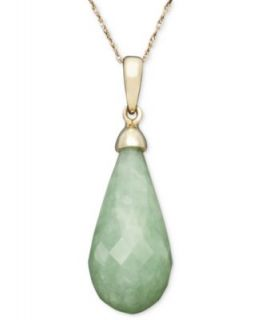 Effy Collection 14k Gold Pendant, Jade Teardrop (31 ct. t.w.) Necklace