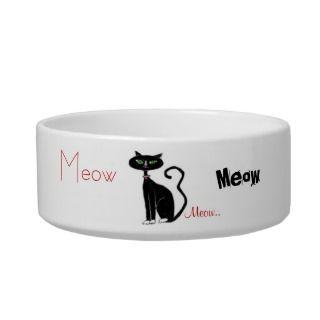 Retro Black Green Eyed Kitty Food Bowl Pet Food Bowl